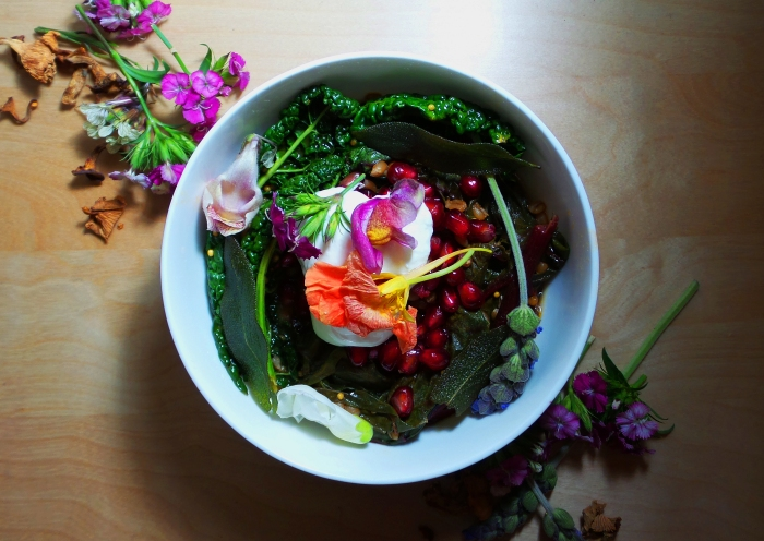A Festive Holiday Meal: Wheat Berry Stew with Edible Flowers